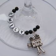 Movie Camera Personalised Wine Glass Charm
